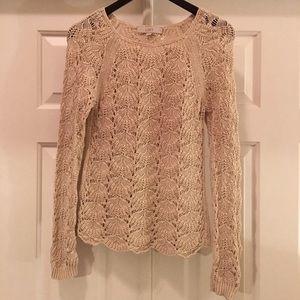 Loft Beige Crochet Sweater